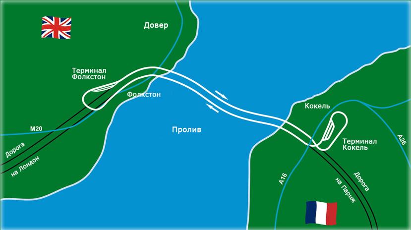 Карта Евротоннеля